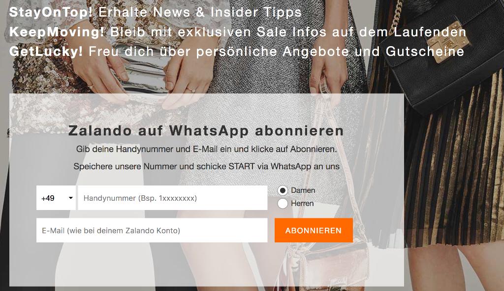 Zalando Whatsapp Newlsetter Anmeldung