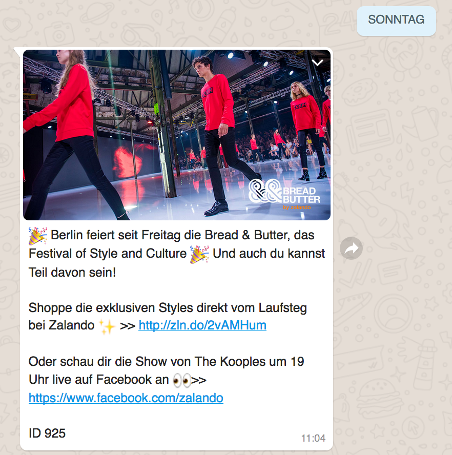 Whatsapp Newsletter Zalando