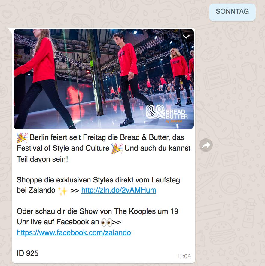 Whatsapp Newsletter Zalando